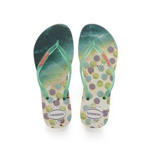 Havaianas Slim Paisage Flip Flops White/Mint 9 10